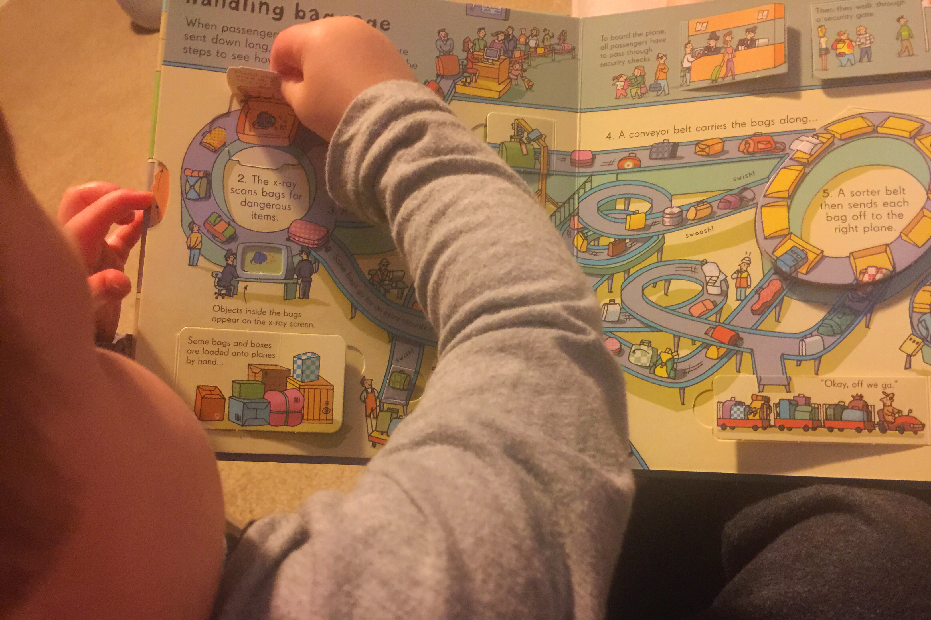 Flying with a toddler airport book