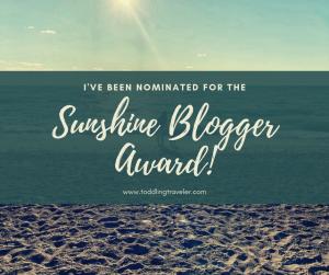 2019 Sunshine Blogger Award Toddling Traveler